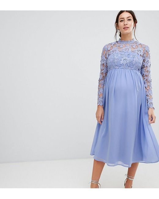 f9f40297c0 Chi Chi London - Blue High Neck Midi Skater Dress With Lace Sleeves - Lyst  ...