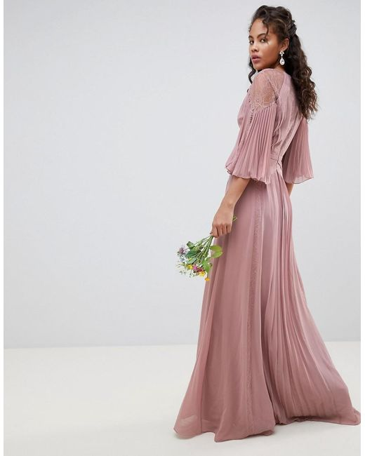 8e29cd42aaf0 ... ASOS - Pink Asos Design Tall Pleated Paneled Flutter Sleeve Maxi Dress  With Lace Inserts -