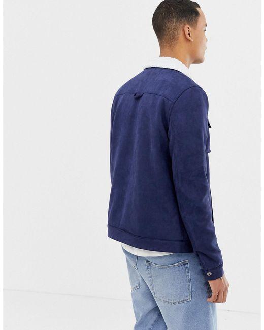 TALL - Veste en suédine avec col imitation peau Another Influence pour homme en coloris Blue