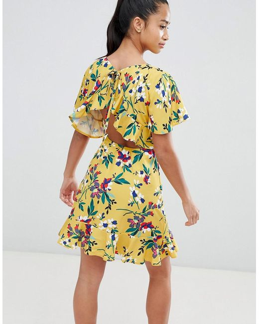 Robe Jaune Nu Femme De Dos Coloris À Fleurs PiZukX