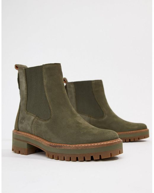 753527236a7 Women's Green Courmayeur Valley Olive Leather Chelsea Pull On Ankle Boots