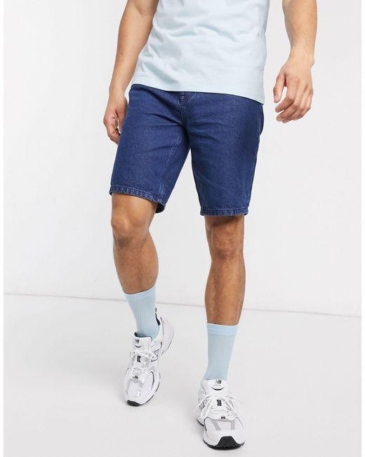 ASOS Blue Slim Denim Shorts Dark Stone Wash for men