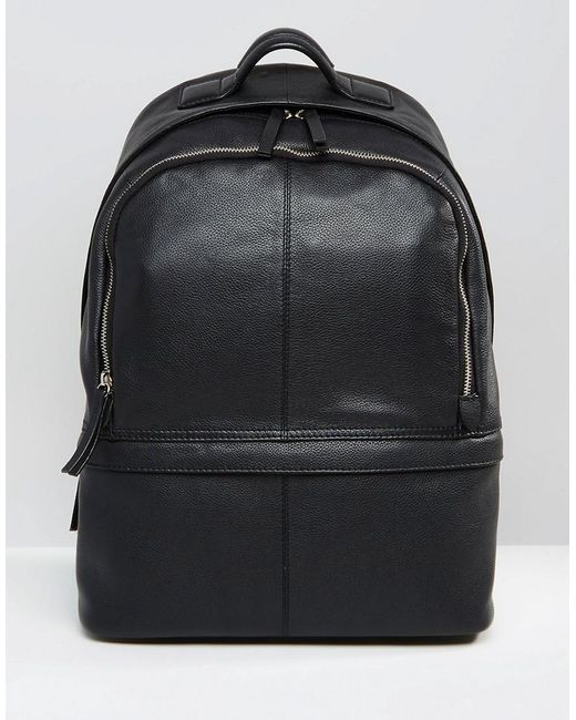 ASOS Harvard - Lederrucksack in Black für Herren