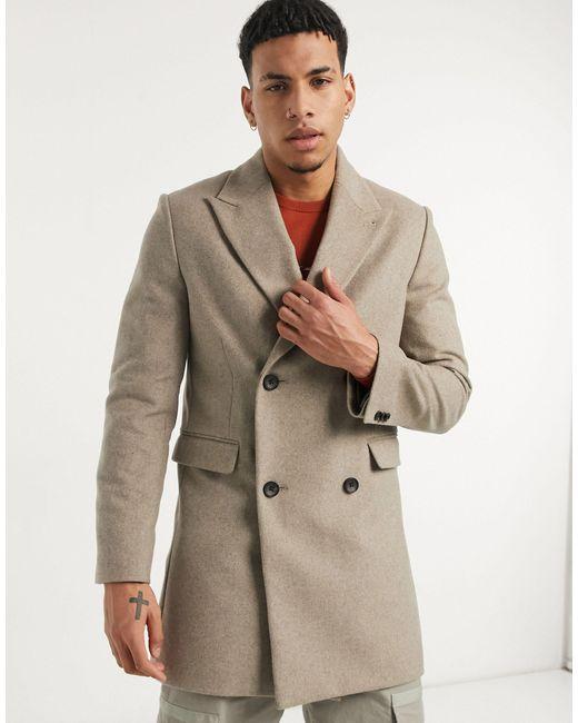 Бежевое Двубортное Пальто Moss London-нейтральный Moss Bros для него, цвет: Natural