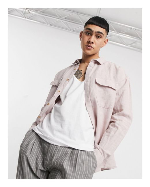 ASOS Pink 90s Oversized Linen Shirt With Pockets for men