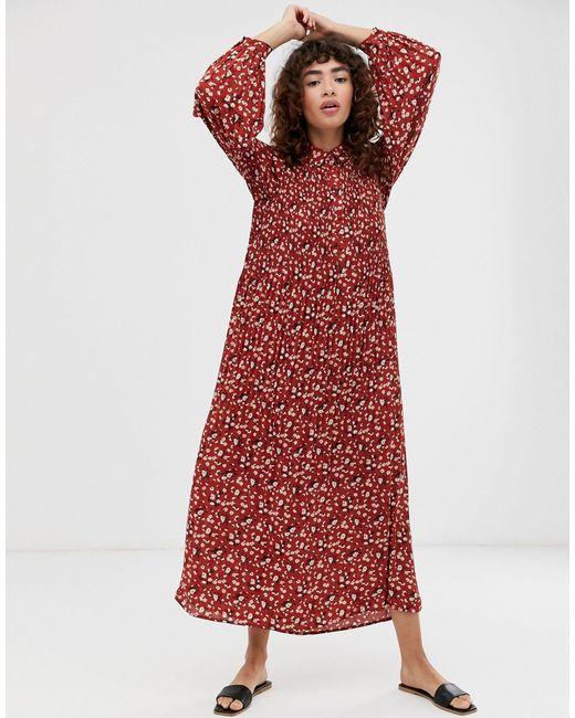 Плиссированное Платье Макси С Цветочным Принтом Femme-мульти SELECTED, цвет: Red