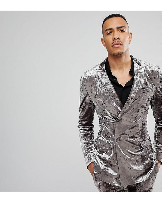 ASOS - Gray Tall Super Skinny Double Breasted Tuxedo Suit Jacket In Grey Crushed Velvet for Men - Lyst