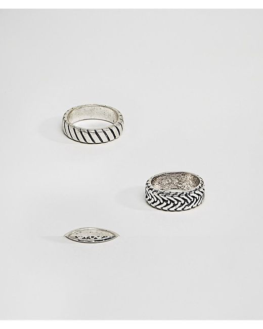 ASOS - Metallic Ring Pack With Embossing In Burnished Silver Tone for Men - Lyst