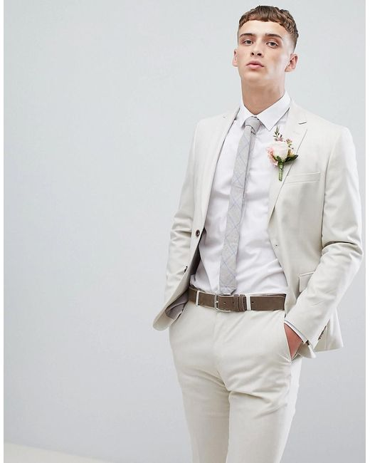 outlet los angeles newest style of Men's Moss London Skinny Suit Jacket In Stone