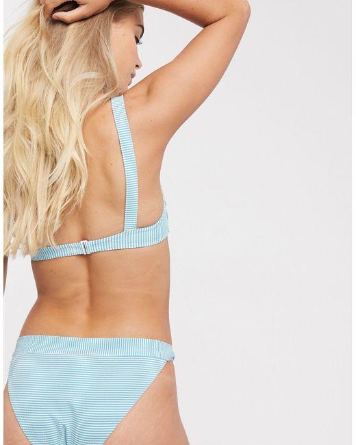 & Other Stories Gestreept Gekreukt Bikinibroekje in het Blue