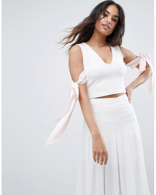 ASOS - Pink Top In Scuba With Plunge Neck And Bow Detail - Lyst