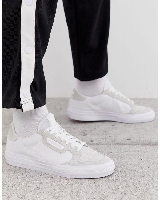 gama muy codiciada de última tecnología Para estrenar adidas Originals Leather Continental Vulc Trainers in White for ...