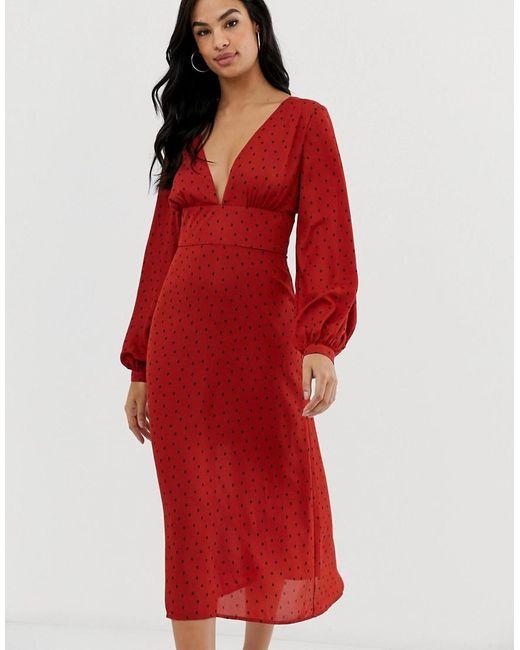Fashion Union Midi-jurk Met Vintage Bloemenprint in het Red