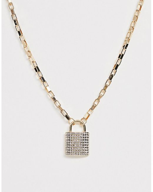 ASOS Metallic Necklace With Crystal Padlock Pendant And Hardware Chain In Gold Tone