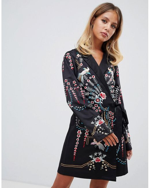 afa2d5131d0 Women's Black Embroidered Wrap Mini Dress With Long Sleeves