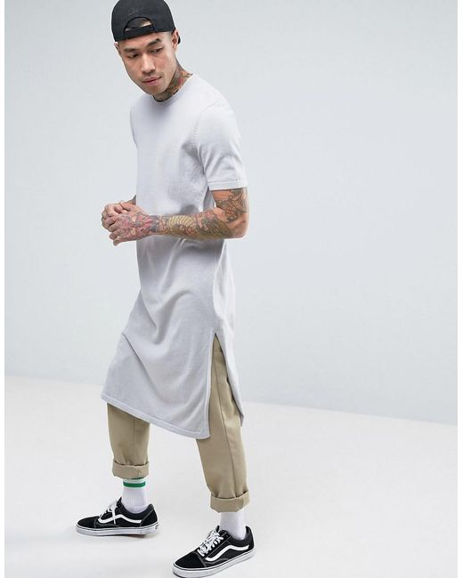 ASOS | Extreme Longline Knitted T-shirt With Side Splits In Gray for Men | Lyst
