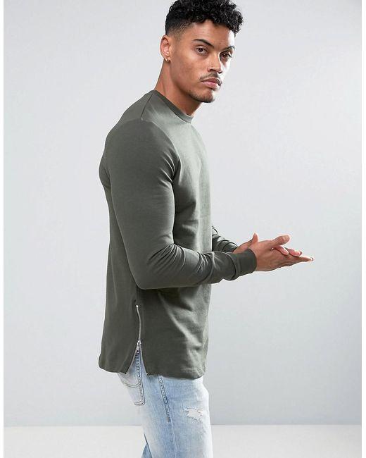 44f150af ASOS - Green Asos Longline Muscle Fit Sweatshirt With Side Zip In Khaki for  Men ...