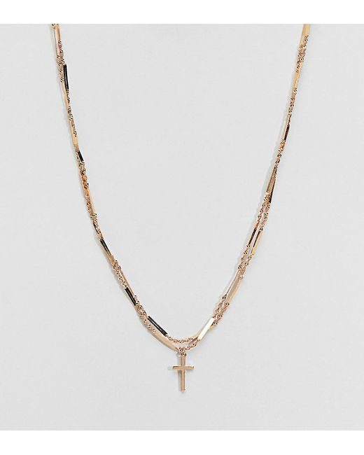 ASOS - Metallic Asos Design Curve Multirow Necklace With Vintage Style Cross And Twist Chain In Gold - Lyst