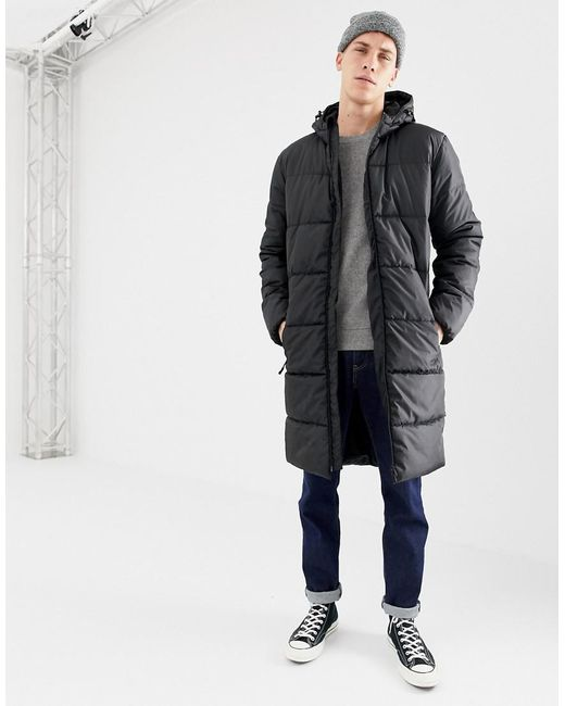 7f10d5ada Men's Black Long Puffer Jacket