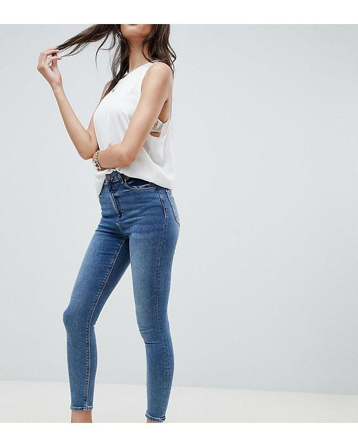 ASOS - Blue Ridley High Waist Skinny Jeans In Extreme Mid Wash - Lyst