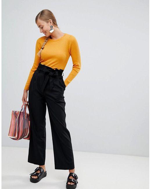 Monki - Black Highwaisted Paperbag Tailored Trousers - Lyst