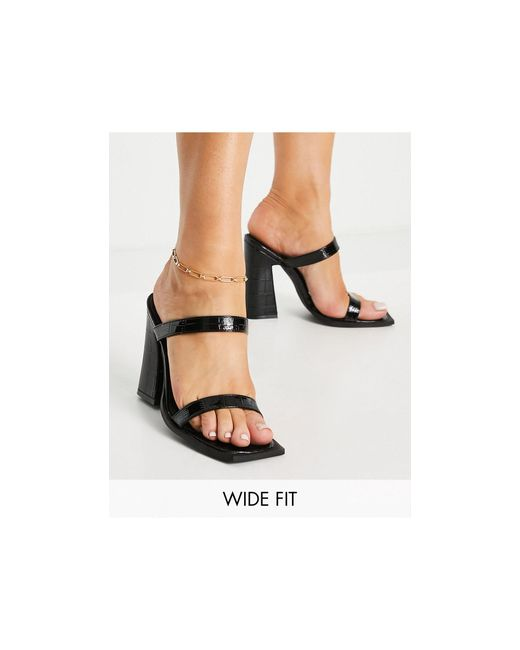 Raid Wide Fit Black Exclusive Megha Block-heeled Mules With Square Toe
