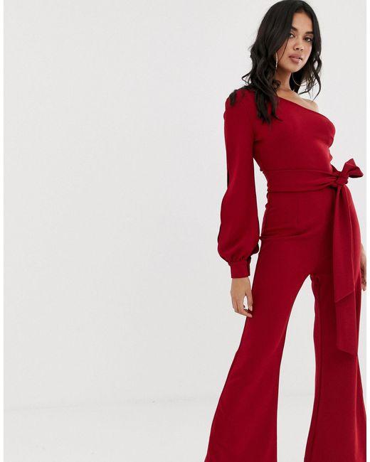 Комбинезон На Одно Плечо С Широкими Штанинами -красный Girl In Mind, цвет: Red