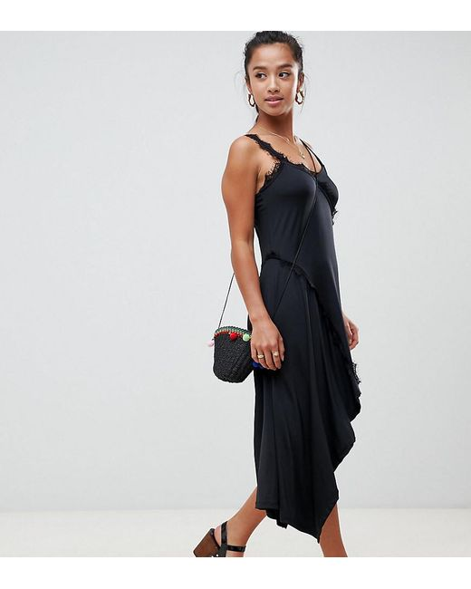 Asos Black Design Pee Lace Insert Slinky Slip Dress Lyst
