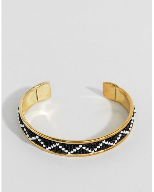 ASOS - Metallic Embellished Bead Cuff Bracelet - Lyst