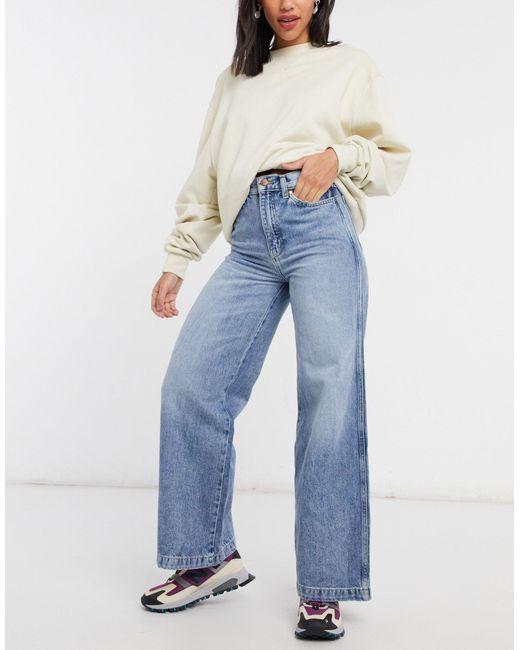 Wrangler Blue High Rise Wide Leg Jeans