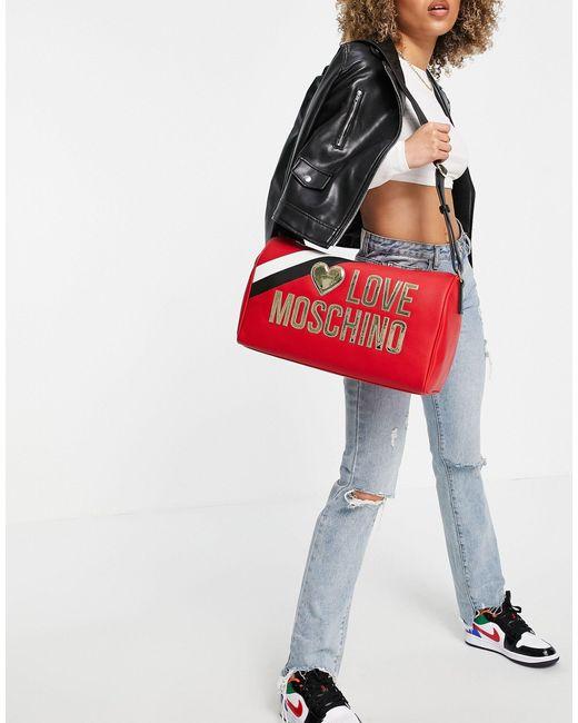 Красная Дорожная Сумка-тоут С Большим Логотипом -красный Love Moschino, цвет: Red