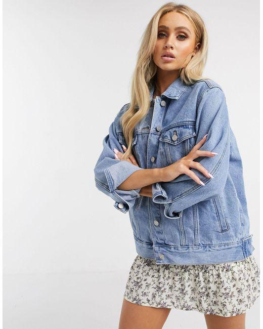 Джинсовая Oversize-куртка -синий Missguided, цвет: Blue