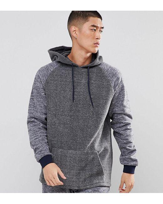 ASOS Blue Asos Oversized Longline Hoodie In Fleece With Contrast Sleeves for men