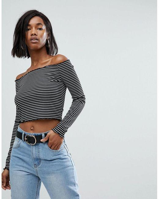 PRETTYLITTLETHING | Blue Frill Edge Stripe Bardot Top | Lyst