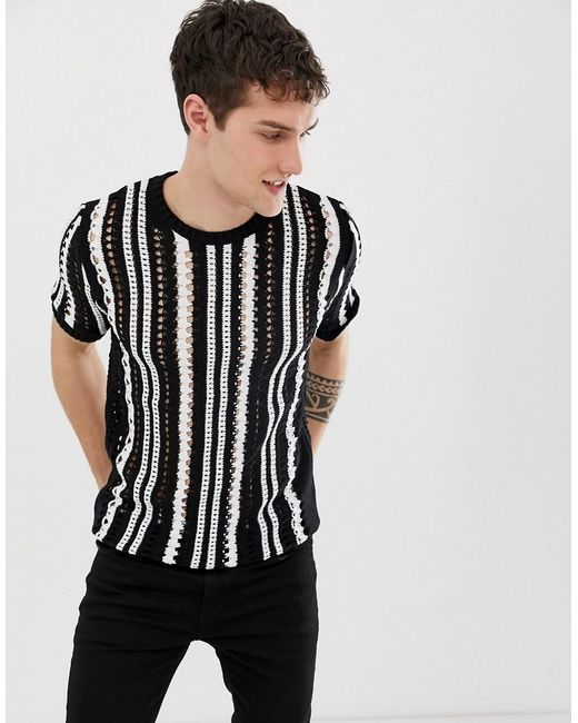 e78a5ae8711fa Lyst - ASOS Crochet Knit T-shirt In Black   White in Black for Men