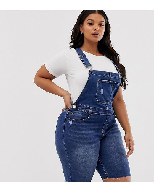 Simply Be Overall Shorts In Blue Denim