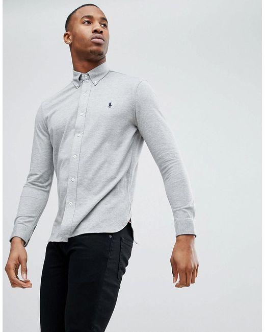 d7a5f905 Polo Ralph Lauren - Gray Slim Fit Pique Shirt Player Logo Button-down In  Grey ...