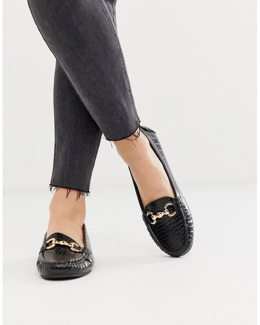 Truffle Collection Platte Loafers Met Krokodillenmotief in het Black
