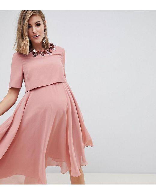 8cc148d14e919 ASOS - Pink Asos Design Maternity Midi Dress With 3d Embellished Neckline -  Lyst ...
