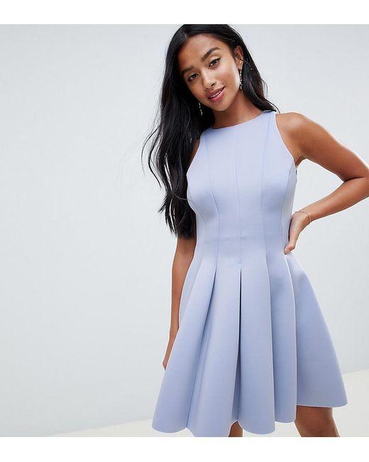 ASOS - Blue Asos Design Petite Sleeveless Open Back Seamed Mini Skater Dress  - Lyst ... 8e5f7cddb
