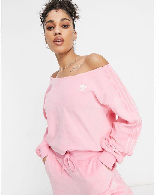 Adidas Originals Pink – Relaxed Risqué – Off-Shoulder-Sweatshirt aus Velours