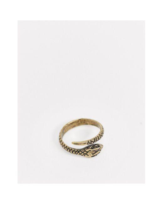 ASOS Metallic Ring With Wrap Around Snake for men