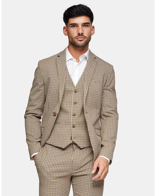 Topman Multicolor Check Skinny Suit Jacket With Notch Lapels for men