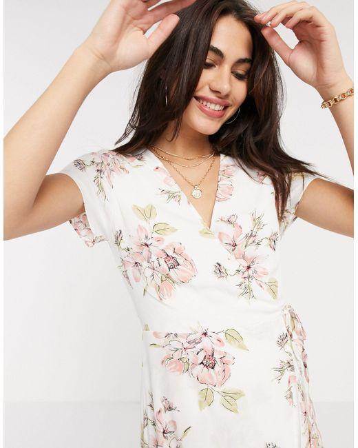Платье Миди Цвета Слоновой Кости С Запахом И Цветочным Принтом -белый Warehouse, цвет: White