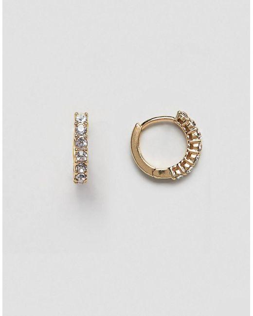 ASOS - Metallic Hoop Earrings With Crystal Detail In Gold - Lyst
