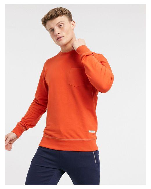 Оранжевый Свитер С Круглым Вырезом -оранжевый Цвет Jack & Jones для него, цвет: Orange
