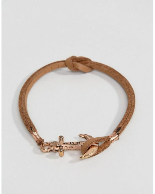 Icon Brand | Brown Anchor Leather Bracelet In Tan for Men | Lyst