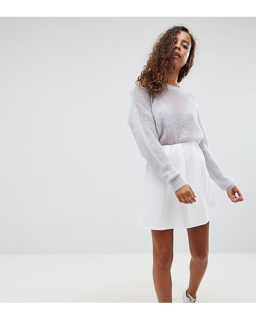ASOS | White Mini Skater Skirt With Pleats In Rib | Lyst