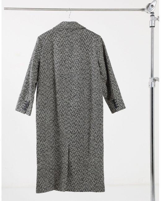 Монохромное Пальто В Винтажном Стиле С Узором «в Елочку» ASOS, цвет: Gray