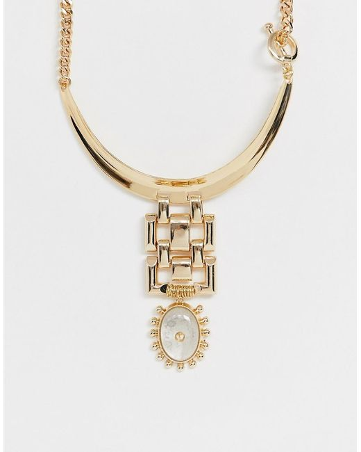 ASOS Metallic Torque Necklace With Studded Stone Pendant In Gold Tone